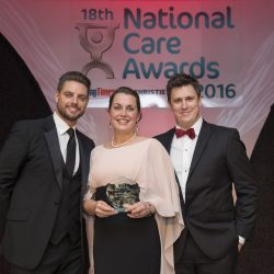 Sam Leighton-Smith with Care Operations Manager winner at National Care Awards 2016