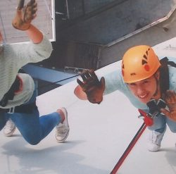 Robyn and Cassie Abseil for Autism Hampshire 2014